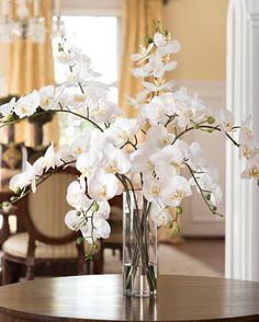"""{$tab:description} Make a dramatic statement with Orchids Gathered in a 12"""" tall cylinder vase of clear acrylic water to highlight their natural beauty from bud to stem, ten of our glorious phalaenopsis orchids make a dramatic statement in any room of sophisticated style. {$tab:DETAILS}             30"""" Height x 30"""" Width Glass Cylinder Vase - 12""""H x 4""""Diameter Amazing Realism, Distinctive Style Arrives Fully Shaped & Ready to Display Designed and Assembled in the USA Petals E..."""