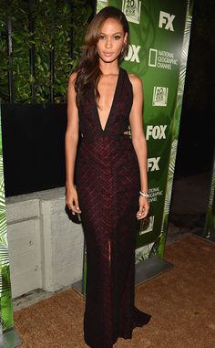 Supermodel Joan Smalls looks fabulous in this J. Mendel number featuring cutout detailing and a plunging neckline.