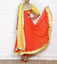 Orange  Yellow Georgette Anarkali Suit