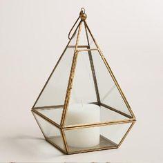 Clear Glass and Metal Pyramid Lantern | World Market