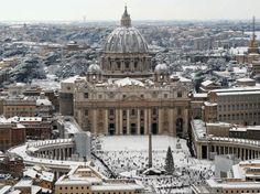 Snow at St Peters Square in the Vatican