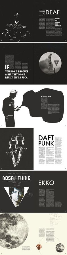 Beautiful simple black and white magazine layouts! Great use of negative space.: