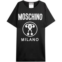 Moschino Logo T-Shirt Dress (4 405 SEK) ❤ liked on Polyvore featuring dresses, tops, black, oversized tshirt dress, moschino dresses, sweater dress, black dress and oversized t shirt dress