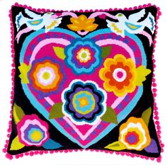Mexican heart needlepoint