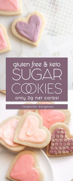 Sugar Cookies with Icing! Gluten Free & Keto Friendly - Low Carb Keto - Ideas of Low Carb Keto - I love round cookies but I shapes! These hearts are low carb gluten free and keto friendly. Plus they are frosted with a buttery sweet icing! Gluten Free Sugar Cookies, Sugar Cookie Icing, Iced Sugar Cookies, Coconut Cookies, Keto Cookies, Sugar Cookies Recipe, Chip Cookies, Gluten Free Icing, Healthy Sugar Cookies