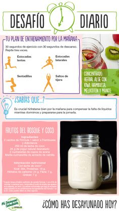 Empezamos el dia con un nuevo desafío diario: plan de entrenamiento + desayuno! Y tu como empiezas el dia??? www.enformaherbal.com #desafio #desayuno #plan #entrenamiento #bajardepeso #xativa #valencia Herbalife Recipes, Herbalife Nutrition, Nutrition Club, Protein Bars, Herbalism, Squat, Kiwi, Lose Weight, Food And Drink