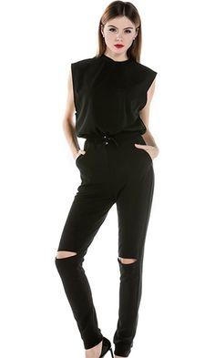 Front Runner Black Sleeveless Crew Neck Elastic Waist Slit Knee Skinny Jumpsuit