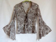 Brown Mesh Top Lace Up Blouse 3/4 Sleeves Asymmetric Sleeves Floral Top Summer…
