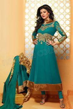 af4651d206  Designer Anarkali  Blue  Indian Wear  Desi Fashion  Natasha Couture  Indian
