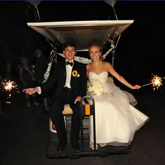 Love the usage of the golf cart for the sparkle send off! Find a safety grab bar and back seat kit that this couple is using here at http://www.pro-fitparts.com/catalog/Rear-Seats---Rear-Seat-Kits #savethedate #golfcarts