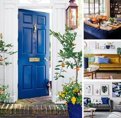 How to Use a Blue Colored Front Door - Catherine French Design - Chapel Hill