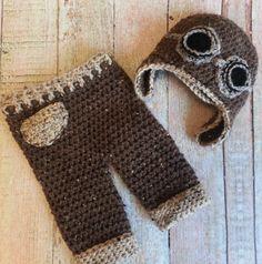 Aviator hat set...crochet pants