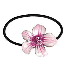 PINK ENAMEL FLOWER HAIR TIE