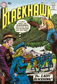 appearance of Lady Blackhawk (Zinda Blake) - purchase of in-stock item (non-consignment) after clicking link or comic image in this post earns me a small commission from mycomicshop. Dc Comic Books, Comic Book Covers, Comic Book Heroes, Comic Art, War Comics, Dc Comics Art, Gi Joe, Caricature, Earth Two