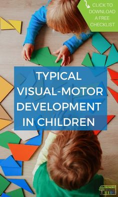 Typical visual-motor development in children, includes a free visual-motor checklist. Visual Motor Activities, Play Therapy Activities, Preschool Activities At Home, Social Skills Activities, Hands On Activities, Toddler Preschool, Educational Activities, Writing Activities, Pediatric Physical Therapy