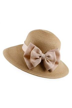 Bowknot Straw Hat With Broad Brim OASAP.com