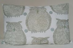 Owl Cushion - - Blendworth Fabric by Kushions on Etsy Owl Cushion, Bed Pillows, Cushions, My Etsy Shop, Unique Jewelry, Tapestry, Handmade Gifts, Patterns, Fabric