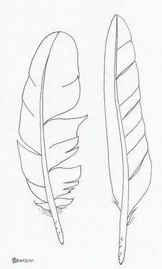Originele inkt veer tekening 2 zee vogel veren to drawing birds Original ink feather drawing ~ 2 sea bird feathers Feather Drawing, Feather Painting, Feather Art, Bird Feathers, Paper Feathers, Tattoo Feather, Feather Stencil, Bird Stencil, Tribal Feather