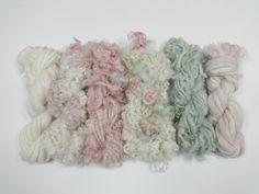 Handgeformten Kunst Garn Mini Strang Sammlung Vielzahl Pack 36 Yards Minze mix rosa Creme grün