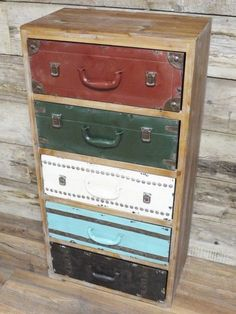 Vintage Luggage Style,Retro Wooden U0026 Metal Tallboy Chest Of Drawers