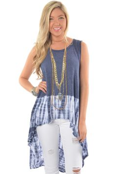Slate Blue Tie-Dyed Top with High-Low Hem #iheartDSP #TieDye #HighLow