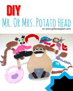 DIY Mr. or Mrs. Potato Head Tutorial on www.girllovesglam.com #toy #game #felt
