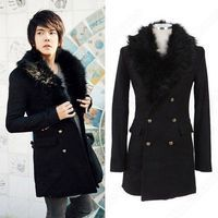 Korean Mens Casual Fashion Personalized Slim Lapel Mid Length Double-Breasted Pocket Outwear Wool Coat Jacket