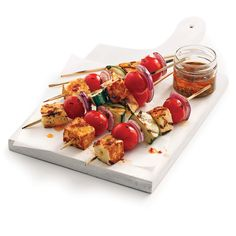 Brochettes de légumes et fromage halloumi - Je Cuisine Bbq Grill, Barbecue, Grilling, Meatless Monday, Recipe Box, Summer Recipes, Sushi, Vegetarian Recipes, Side Dishes