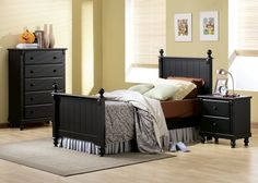 875T 1 4Pcs Cottage Kids Black Sand Through Wood Twin Bedroom Set