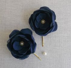 Navy Blue fabric flower in handmade Bridal hair by ZBaccessory, $13.00