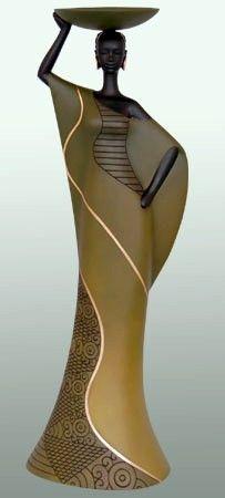 Tribal Woman in Brown Candleholder II is an Essence of Africa Candleholder of a black woman in a brown dress balancing a bowl atop her head. Sculptures Céramiques, Sculpture Art, African Sculptures, Black Women Art, Black Art, African Beauty, African Women, Afrique Art, African Paintings