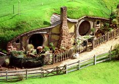 one of the hobbit holes the special effects crew constructed for the Lord of the Rings films