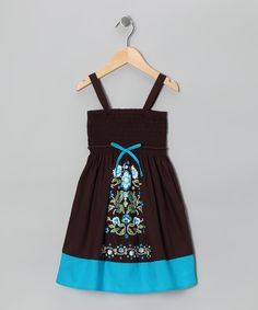 Brown & Turquoise Bouquet Dress - Toddler & Girls...