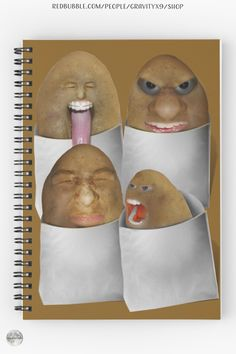 """* """"Potato Four Pack"""" Spiral Notebooks by #Gravityx9 