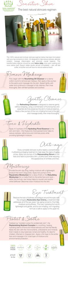 A step-by-step graphic for the best natural skincare regimen for sensitive skin types. Hydrate, balance, smooth and heal for healthy, beautiful skin!