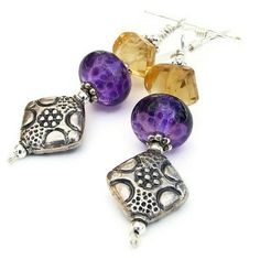 Handmade Earrings Flower Purple Lampwork Citrine Sterling OOAK Jewelry