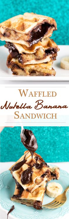 Waffled Nutella Banana Sandwich with Homemade Vegan Nutella. Simple, Easy, Sinful, Delicious!