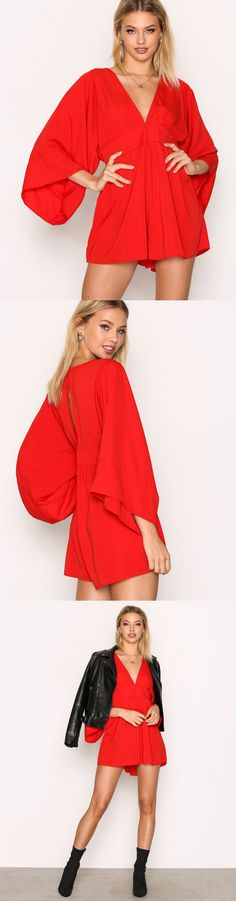 Nelly | Motel | Playsuit | Romper | Eclipse Twistcon Jumpsuit | Red Playsuit | V Neckline Playsuit | Open Portion Back Playsuit | Wide Sleeves Playsuit | Long Sleeved Playsuit | Summer Playsuit | Jumpsuit