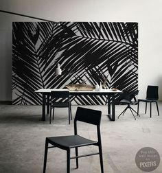 pixers-foto-behang-palm-zwart-wit Back and White palm leaves wallpaper | Pixers