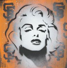 SF Giants x Marilyn Monroe Stencil Art Original by adamvalentino, $22.00