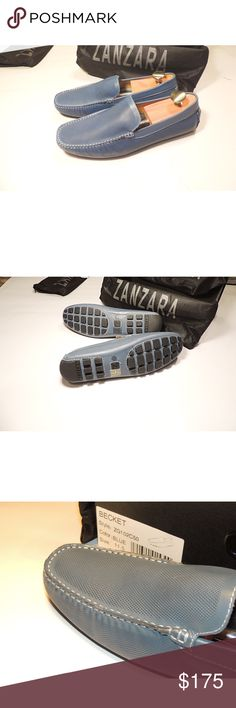 Zanzara Loafers - Becket These Brand New blue loafers have a printer perforation on the leather. ***These are really a size 11.5 they run small***.  Come with box and shoe bags.  Shoe trees not included. Zanzara Shoes Loafers & Slip-Ons