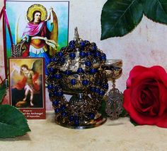 Heirloom Unbreakable Bronze Archangel Michael Catholic Rosary from the Special Edition Handcrafted Art Chaplets & Prayer Beads Series by foodforthesoul on Etsy