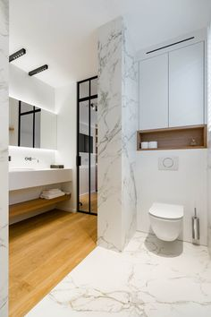 beautiful bathroom ideas marble and wood steel door toilet restroom lighting nuit LED Guest Bathroom Remodel, Shower Remodel, Bath Remodel, Bathroom Renovations, Master Shower Tile, Master Bedroom Bathroom, Wood Bathroom, Bathroom Lighting, New Bathroom Ideas