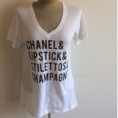 Lipstick & Stilettos white v neck white v neck ladies cut true to size Tops Tees - Short Sleeve