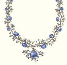 My Sapphire Parure - AN ANTIQUE SAPPHIRE AND DIAMOND NECKLACE