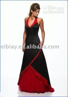 black and red wedding dress