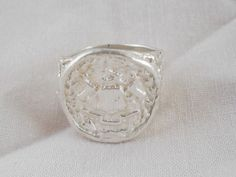 Family Crest Signet Sterling Hand Cast 950 Silver Ring One of a kind #Handmade #Signet