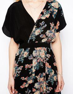 ASOS Petite | ASOS PETITE Midi Dress With Cross Front In Vintage Floral at ASOS