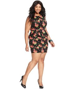 Soprano Plus Size Dress, Sleeveless Floral-Print Peplum - Plus Size Dresses - Plus Sizes - Macy's