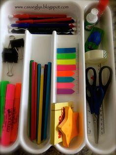 Usos del porta-cubiertos  02.- Para organizar artículos de oficina.
